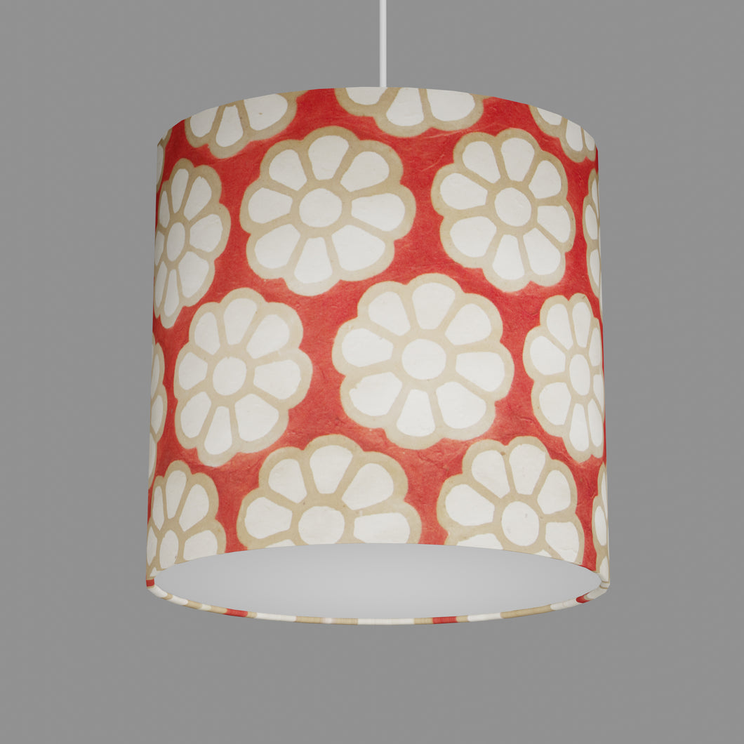 Oval Lamp Shade - P18 - Batik Big Flower on Red, 30cm(w) x 30cm(h) x 22cm(d)