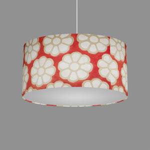 Oval Lamp Shade - P18 - Batik Big Flower on Red, 40cm(w) x 20cm(h) x 30cm(d)