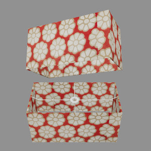 Rectangle Lamp Shade - P18 - Batik Big Flower on Red, 50cm(w) x 25cm(h) x 25cm(d)
