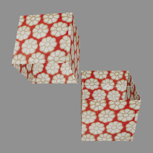 Square Lamp Shade - P18 - Batik Big Flower on Red, 40cm(w) x 40cm(h) x 40cm(d)