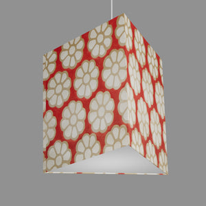 Triangle Lamp Shade - P18 - Batik Big Flower on Red, 40cm(w) x 40cm(h)