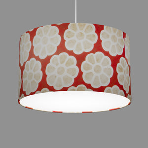 Drum Lamp Shade - P18 - Batik Big Flower on Red, 35cm(d) x 20cm(h)