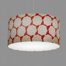 Drum Lamp Shade - P18 - Batik Big Flower on Red, 60cm(d) x 30cm(h)