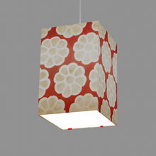 Square Lamp Shade - P18 - Batik Big Flower on Red, 20cm(w) x 30cm(h) x 20cm(d)