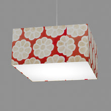 Square Lamp Shade - P18 - Batik Big Flower on Red, 40cm(w) x 20cm(h) x 40cm(d)