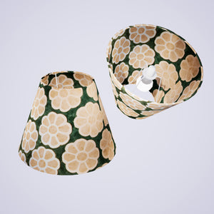 Conical Lamp Shade P19 - Batik Big Flower on Green, 15cm(top) x 30cm(bottom) x 22cm(height)