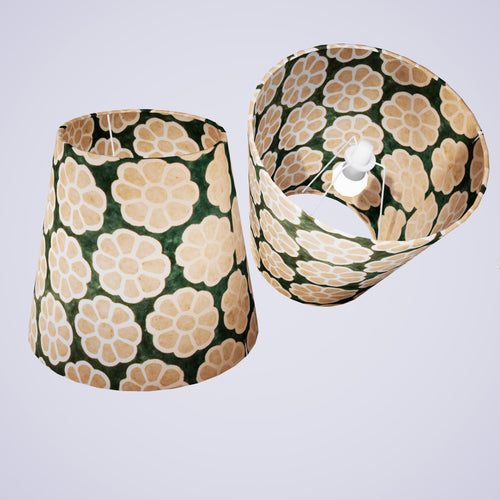 Conical Lamp Shade P19 - Batik Big Flower on Green, 23cm(top) x 35cm(bottom) x 31cm(height)