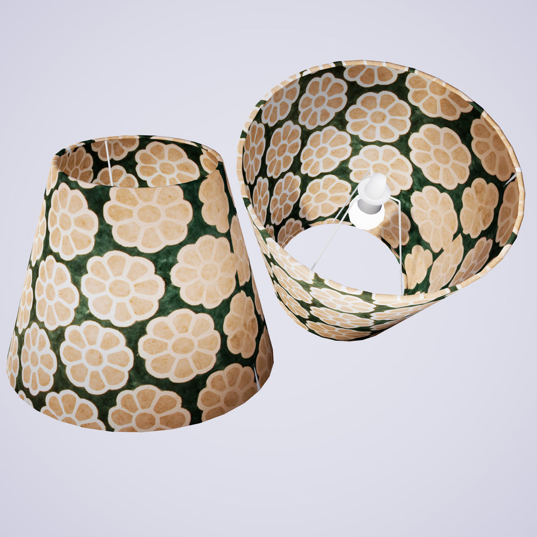 Conical Lamp Shade P19 - Batik Big Flower on Green, 23cm(top) x 40cm(bottom) x 31cm(height)