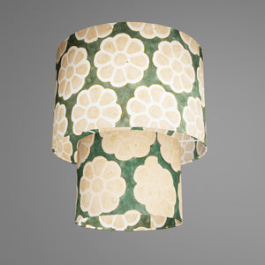 2 Tier Lamp Shade - P19 - Batik Big Flower on Green, 30cm x 20cm & 20cm x 15cm