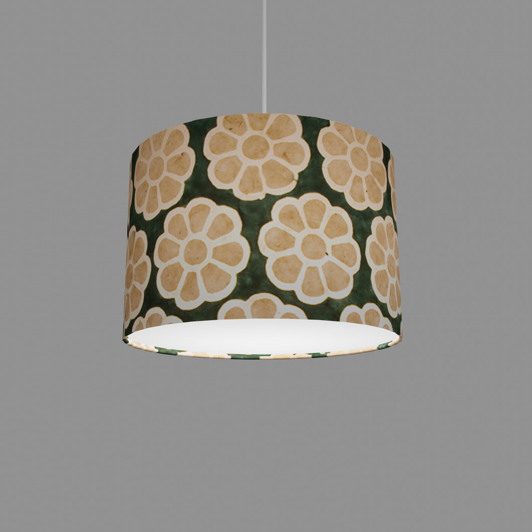 Drum Lamp Shade - P19 - Batik Big Flower on Green, 30cm(d) x 20cm(h)