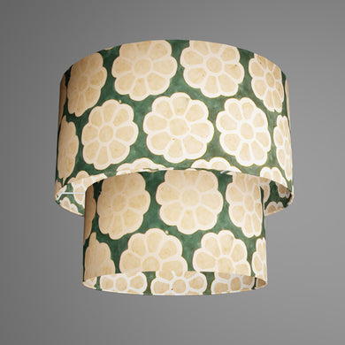 2 Tier Lamp Shade - P19 - Batik Big Flower on Green, 40cm x 20cm & 30cm x 15cm