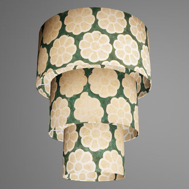 3 Tier Lamp Shade - P19 - Batik Big Flower on Green, 40cm x 20cm, 30cm x 17.5cm & 20cm x 15cm