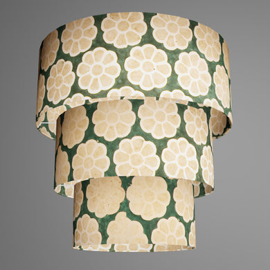 3 Tier Lamp Shade - P19 - Batik Big Flower on Green, 50cm x 20cm, 40cm x 17.5cm & 30cm x 15cm