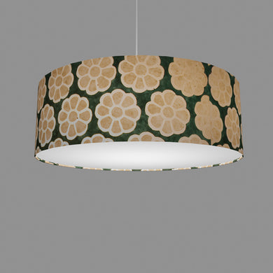 Drum Lamp Shade - P19 - Batik Big Flower on Green, 60cm(d) x 20cm(h)