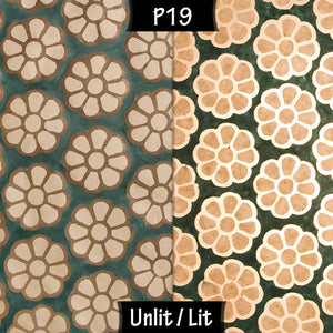 Drum Lamp Shade - P19 - Batik Big Flower on Green, 40cm(d) x 20cm(h) - Imbue Lighting