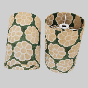Drum Lamp Shade - P19 - Batik Big Flower on Green, 20cm(d) x 30cm(h)