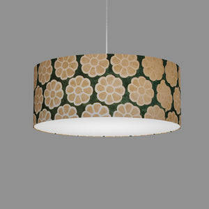 Drum Lamp Shade - P19 - Batik Big Flower on Green, 50cm(d) x 20cm(h)