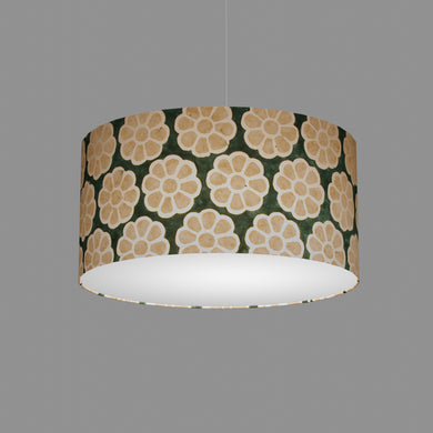 Drum Lamp Shade - P19 - Batik Big Flower on Green, 50cm(d) x 25cm(h)