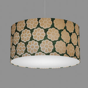 Drum Lamp Shade - P19 - Batik Big Flower on Green, 60cm(d) x 30cm(h)