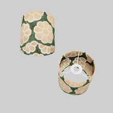 Drum Lamp Shade - P19 - Batik Big Flower on Green, 15cm(d) x 15cm(h)