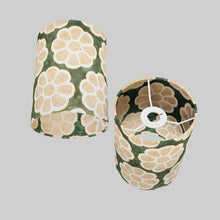 Drum Lamp Shade - P19 - Batik Big Flower on Green, 15cm(d) x 20cm(h)