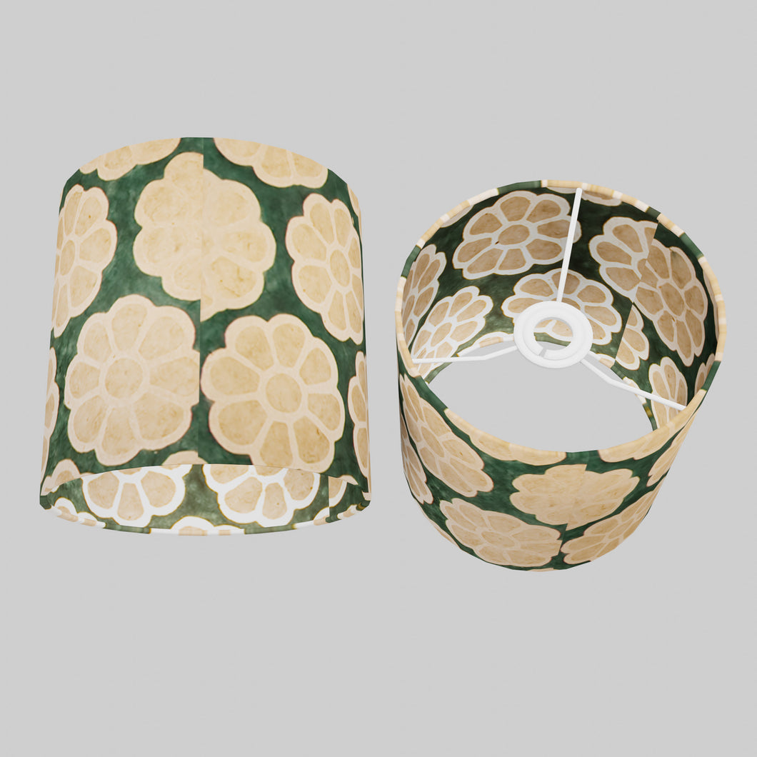 Drum Lamp Shade - P19 - Batik Big Flower on Green, 20cm(d) x 20cm(h)