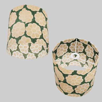 Drum Lamp Shade - P19 - Batik Big Flower on Green, 25cm x 25cm