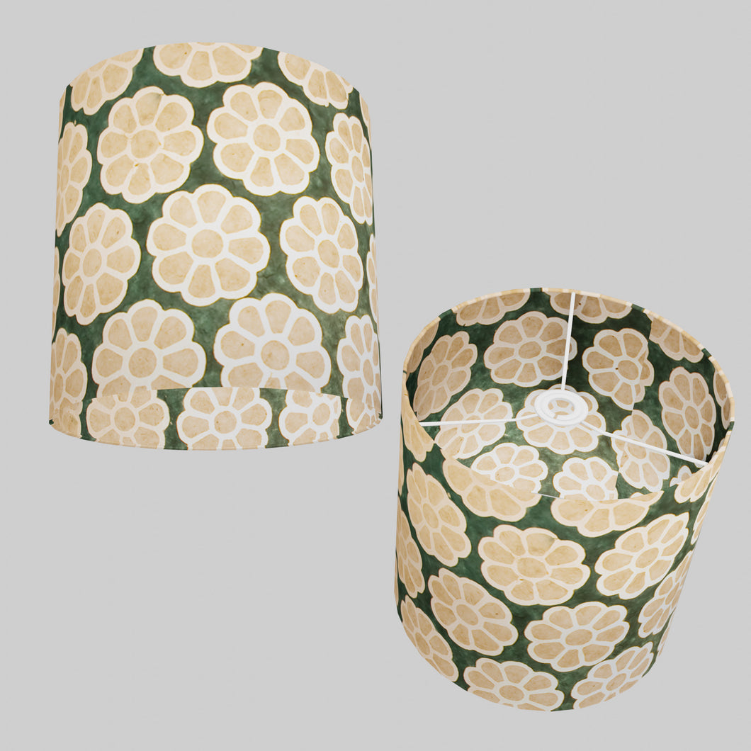 Drum Lamp Shade - P19 - Batik Big Flower on Green, 30cm(d) x 30cm(h)