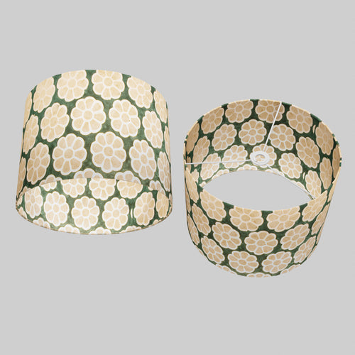 Drum Lamp Shade - P19 - Batik Big Flower on Green, 40cm(d) x 30cm(h)