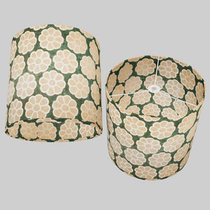 Drum Lamp Shade - P19 - Batik Big Flower on Green, 40cm(d) x 40cm(h)