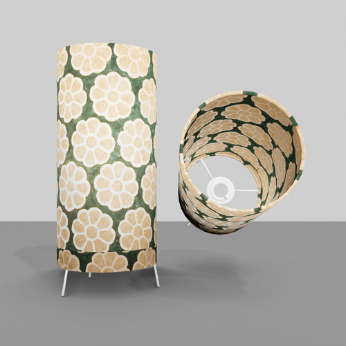 Free Standing Table Lamp Small - P19 ~ Batik Big Flower on Green