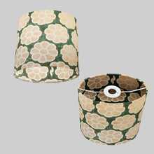 Oval Lamp Shade - P19 - Batik Big Flower on Green, 20cm(w) x 20cm(h) x 13cm(d)