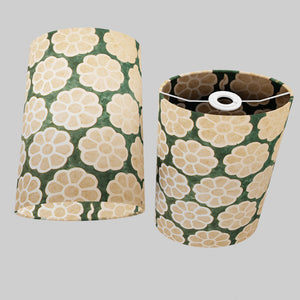 Oval Lamp Shade - P19 - Batik Big Flower on Green, 20cm(w) x 30cm(h) x 13cm(d)