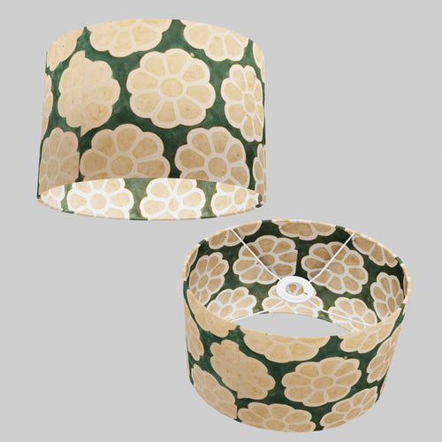 Oval Lamp Shade - P19 - Batik Big Flower on Green, 30cm(w) x 20cm(h) x 22cm(d)
