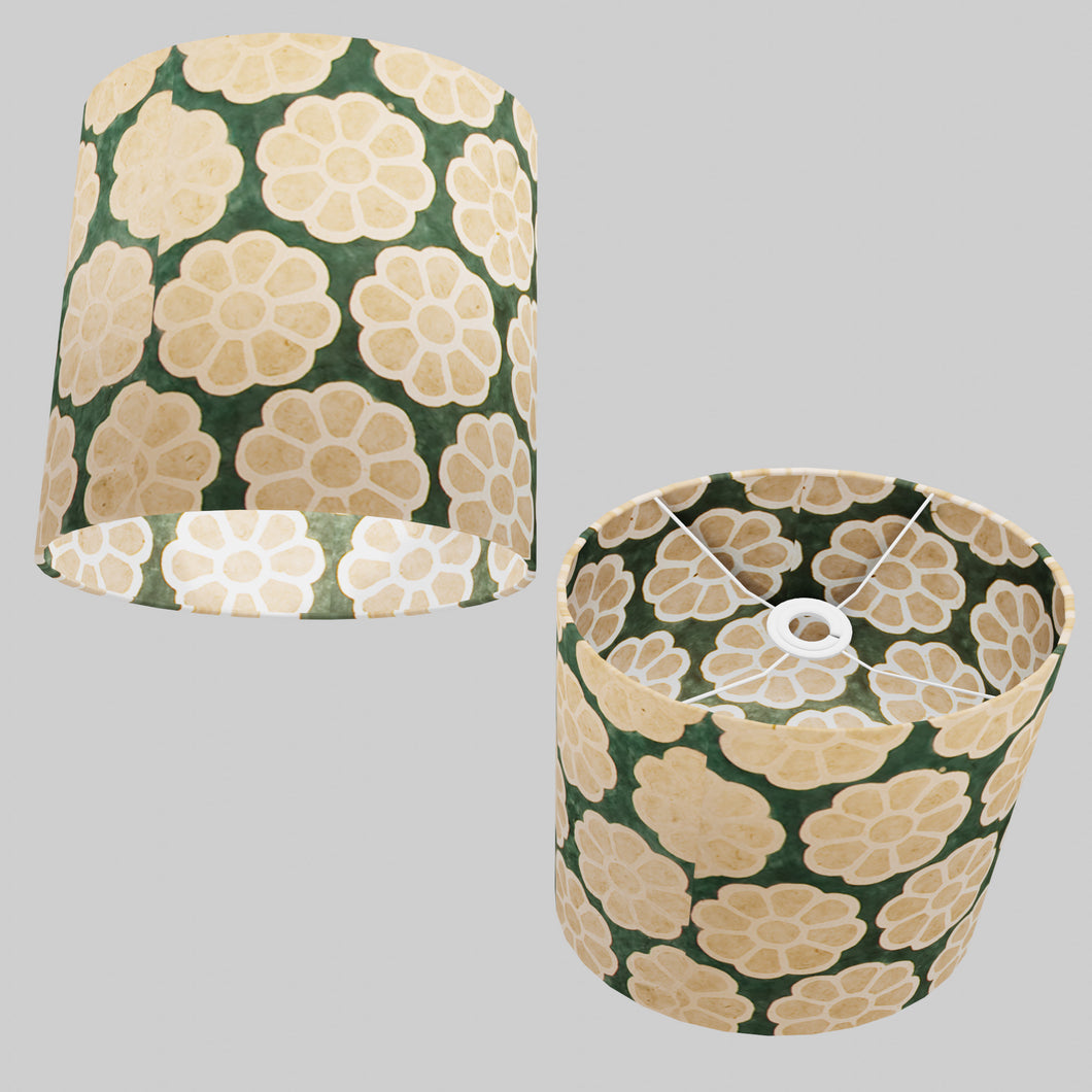 Oval Lamp Shade - P19 - Batik Big Flower on Green, 30cm(w) x 30cm(h) x 22cm(d)