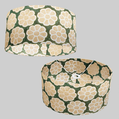 Oval Lamp Shade - P19 - Batik Big Flower on Green, 40cm(w) x 20cm(h) x 30cm(d)
