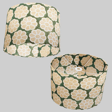 Oval Lamp Shade - P19 - Batik Big Flower on Green, 40cm(w) x 30cm(h) x 30cm(d)