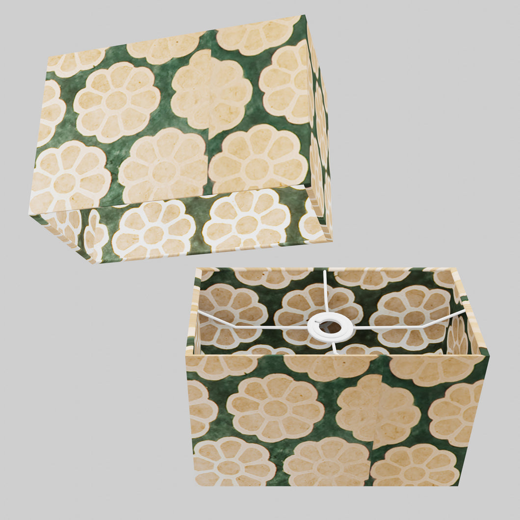 Rectangle Lamp Shade - P19 - Batik Big Flower on Green, 30cm(w) x 20cm(h) x 15cm(d)