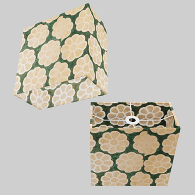 Rectangle Lamp Shade - P19 - Batik Big Flower on Green, 30cm(w) x 30cm(h) x 15cm(d)