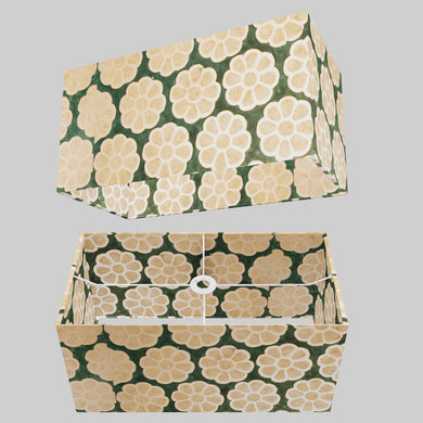 Rectangle Lamp Shade - P19 - Batik Big Flower on Green, 50cm(w) x 25cm(h) x 25cm(d)