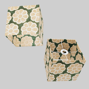 Square Lamp Shade - P19 - Batik Big Flower on Green, 20cm(w) x 20cm(h) x 20cm(d)