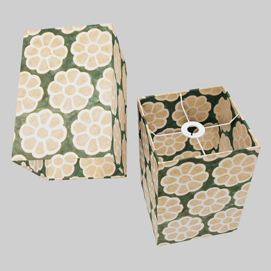 Square Lamp Shade - P19 - Batik Big Flower on Green, 20cm(w) x 30cm(h) x 20cm(d)