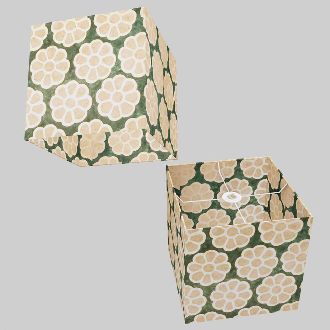 Square Lamp Shade - P19 - Batik Big Flower on Green, 30cm(w) x 30cm(h) x 30cm(d)