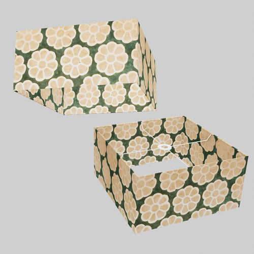 Square Lamp Shade - P19 - Batik Big Flower on Green, 40cm(w) x 20cm(h) x 40cm(d)
