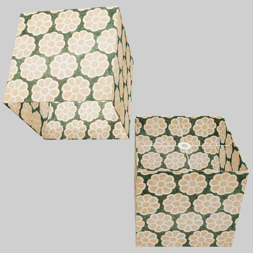Square Lamp Shade - P19 - Batik Big Flower on Green, 40cm(w) x 40cm(h) x 40cm(d)
