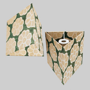 Triangle Lamp Shade - P19 - Batik Big Flower on Green, 20cm(w) x 20cm(h)