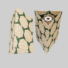 Triangle Lamp Shade - P19 - Batik Big Flower on Green, 20cm(w) x 30cm(h)