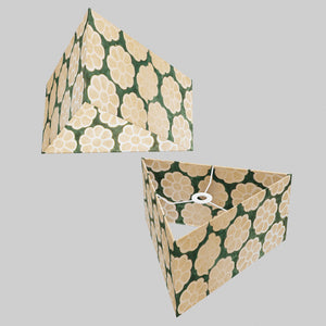 Triangle Lamp Shade - P19 - Batik Big Flower on Green, 40cm(w) x 20cm(h)