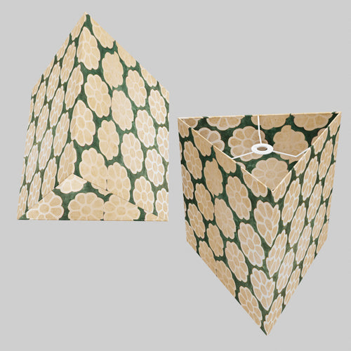 Triangle Lamp Shade - P19 - Batik Big Flower on Green, 40cm(w) x 40cm(h)