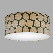 Drum Lamp Shade - P19 - Batik Big Flower on Green, 70cm(d) x 30cm(h)